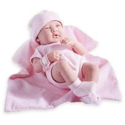 """JC Toys La Newborn 14"""" Girl Baby Doll 5pc Set - Pink Romper"""