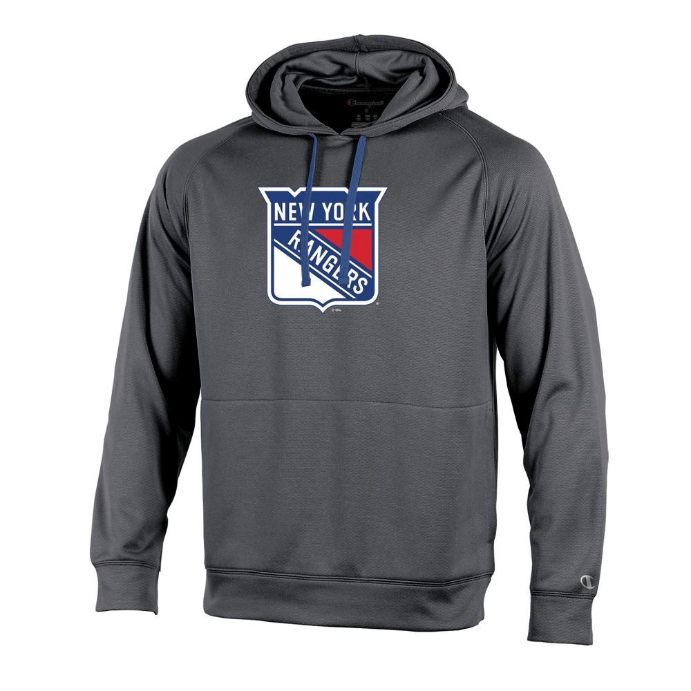 New York Rangers Men's Edge Gray Poly Textured Hoodie M, Multicolored
