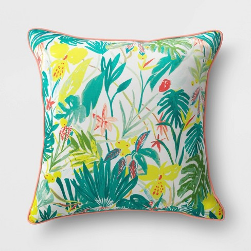 Opal Tropical Natural Woven Outdoor Throw Pillow Green/White - Opalhouse™ - image 1 of 4