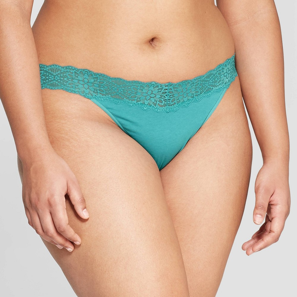 Women's Cotton Thong with Lace Waistband - Auden Dapper Turquoise M