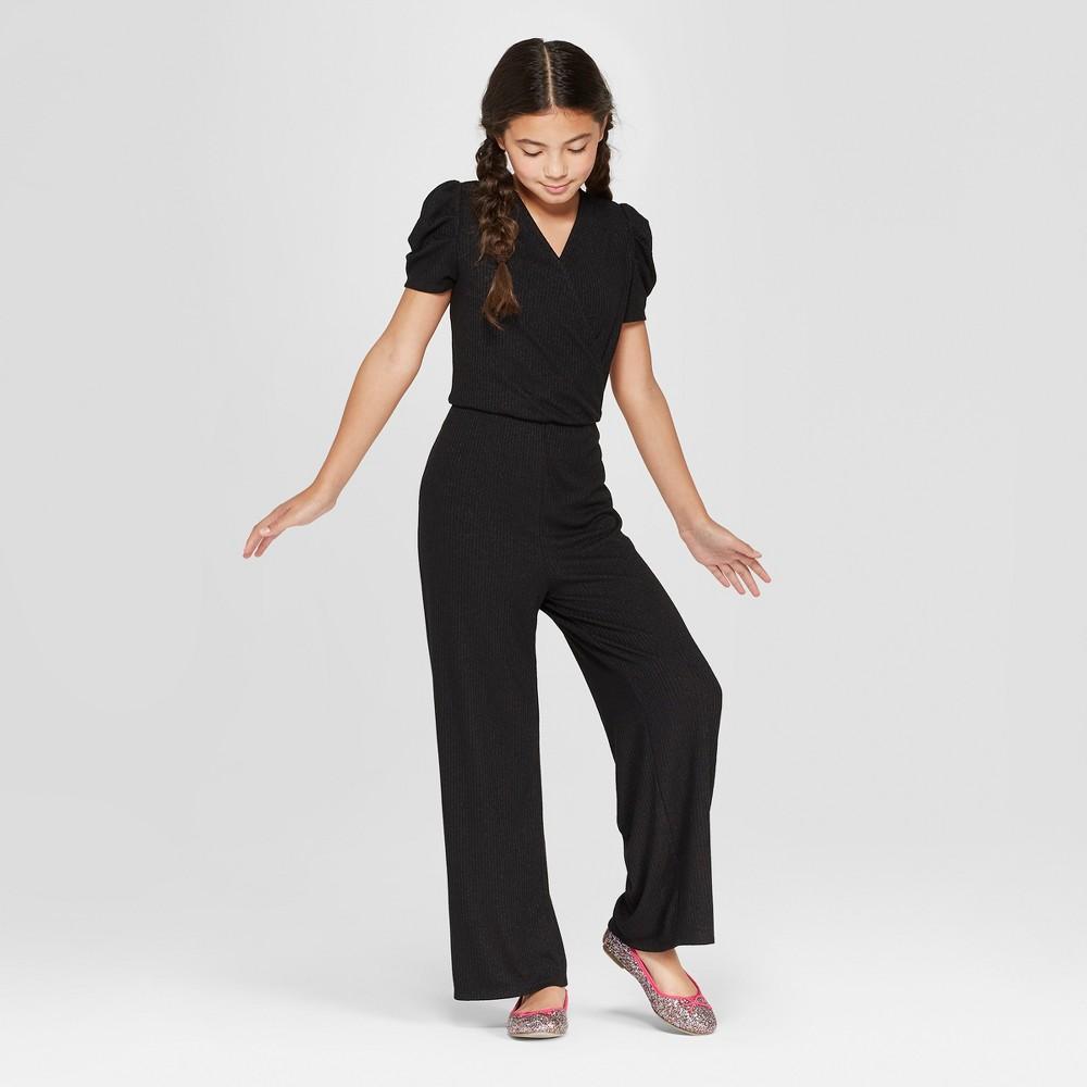 Girls' Short Sleeve Jumpsuit - art class Black XS