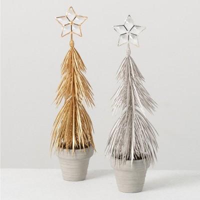 "Sullivans Artificial Set of 2 Metallic Pine Trees 11.5""H Gold & Silver"