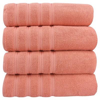 4pc Antalya Turkish Bath Towels Set Salmon - Makroteks