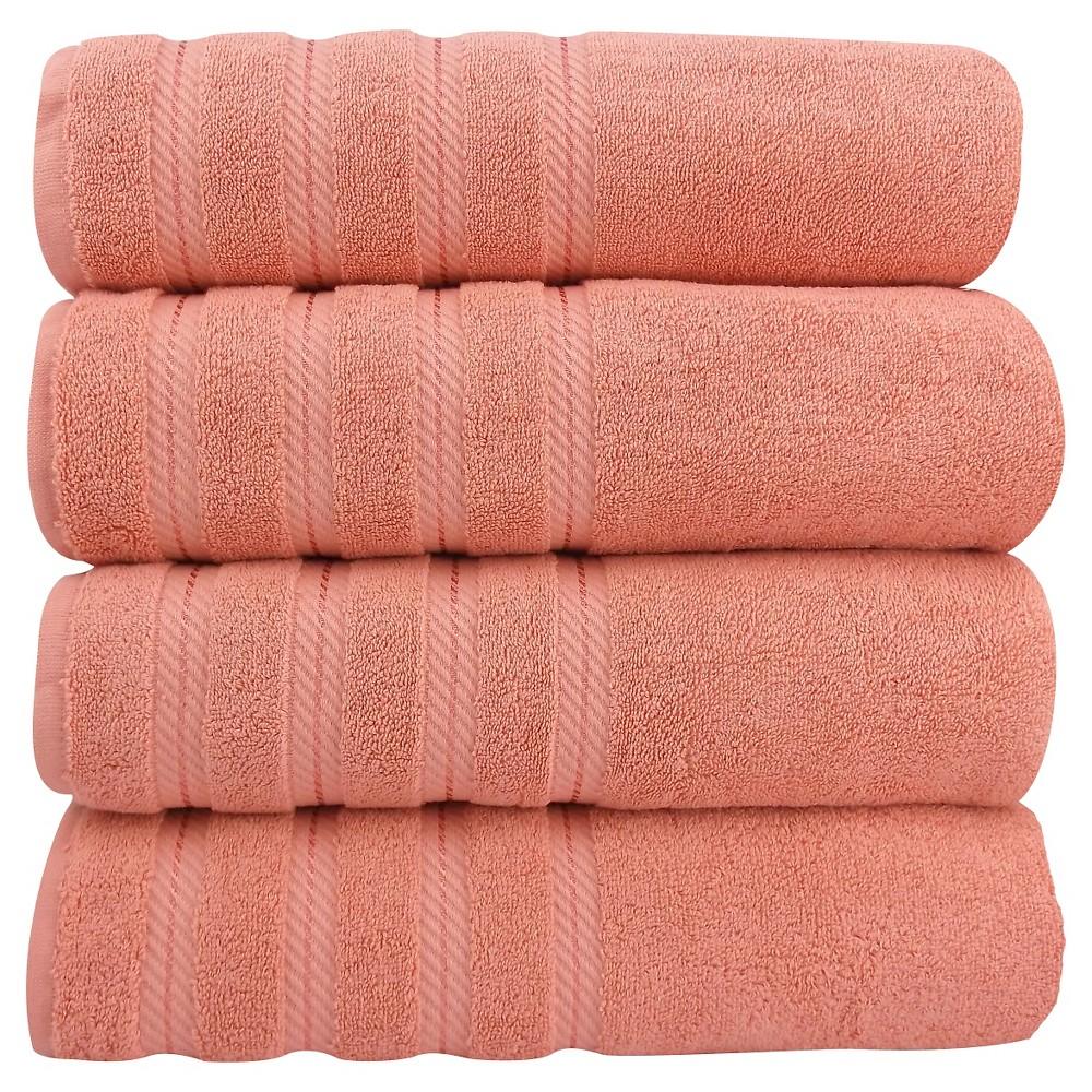 Image of 4pc Antalya Turkish Bath Towels Set Salmon (Pink) - Makroteks
