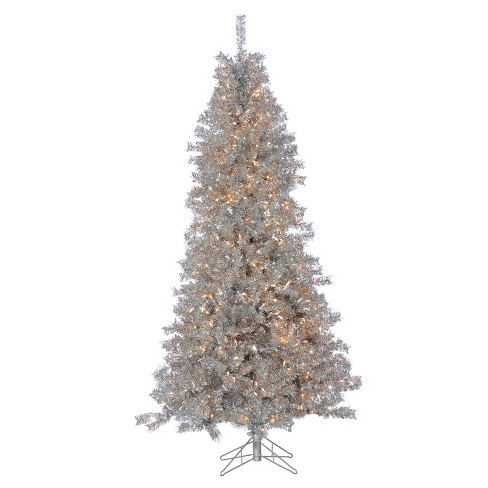 7 5ft Pre Lit Artificial Christmas Tree Silver Curly Tinsel Tree Clear Lights
