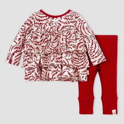 Burt's Bees Baby® Baby Girls' Organic Cotton Swirly Pines Tunic and Ribbed Leggings Set - Pink 9M