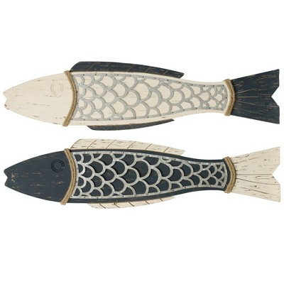 "11"" 2pc Couple Fish Wood and Decorative Wall Art - StyleCraft"