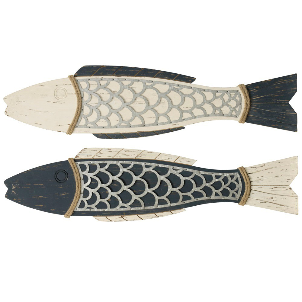 "Image of ""11"""" 2pc Couple Fish Wood and Decorative Wall Art - StyleCraft"""