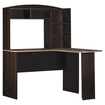 Danford Wood L Shaped Computer Desk with Hutch Rustic - Room & Joy