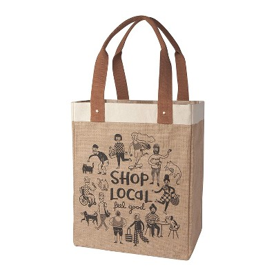 Now Designs Danica Studios 17 x 13.5 Inch Natural Jute and Cotton Shop Local Feel Good Pattern Reusable Grocery Market Tote Bag with Long Handles