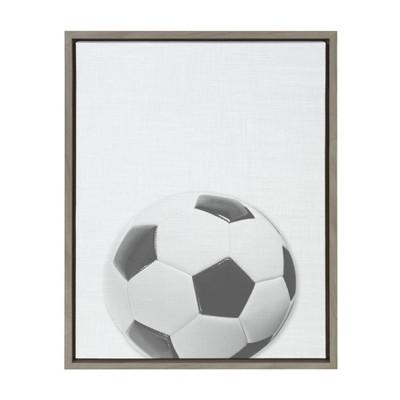 "18"" x 24"" Sylvie Soccer Ball PortraitFramed Canvas Gray - DesignOvation"