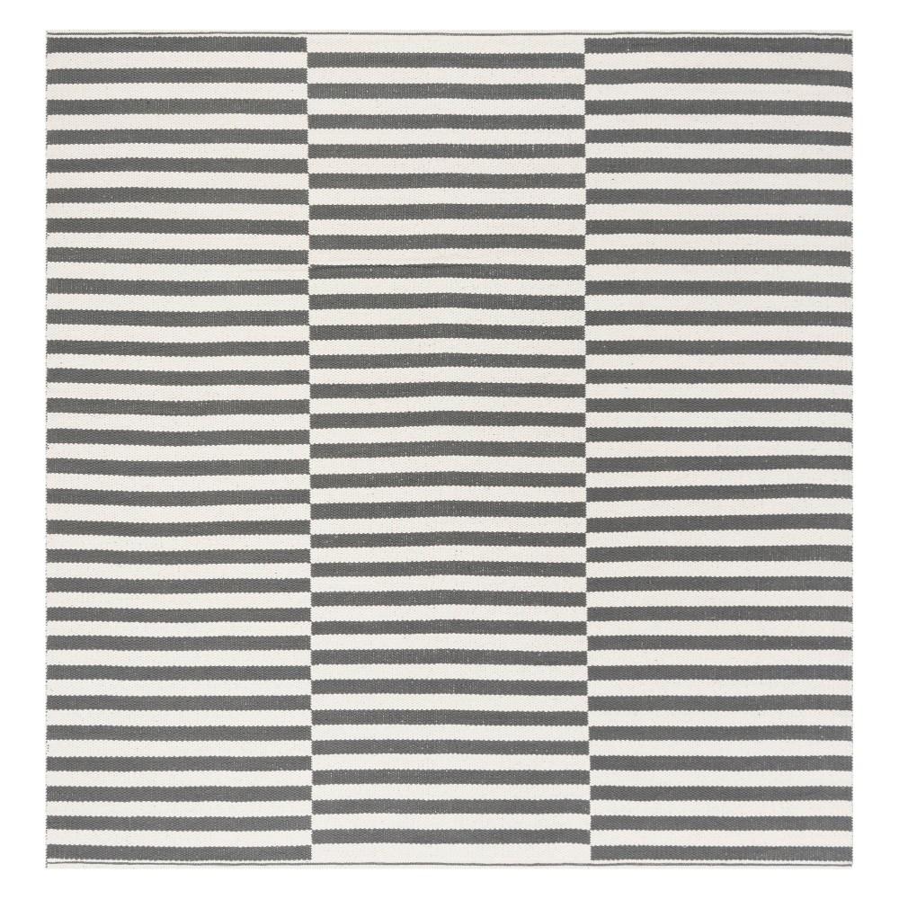 6'X6' Stripe Woven Square Area Rug Ivory/Gray - Safavieh
