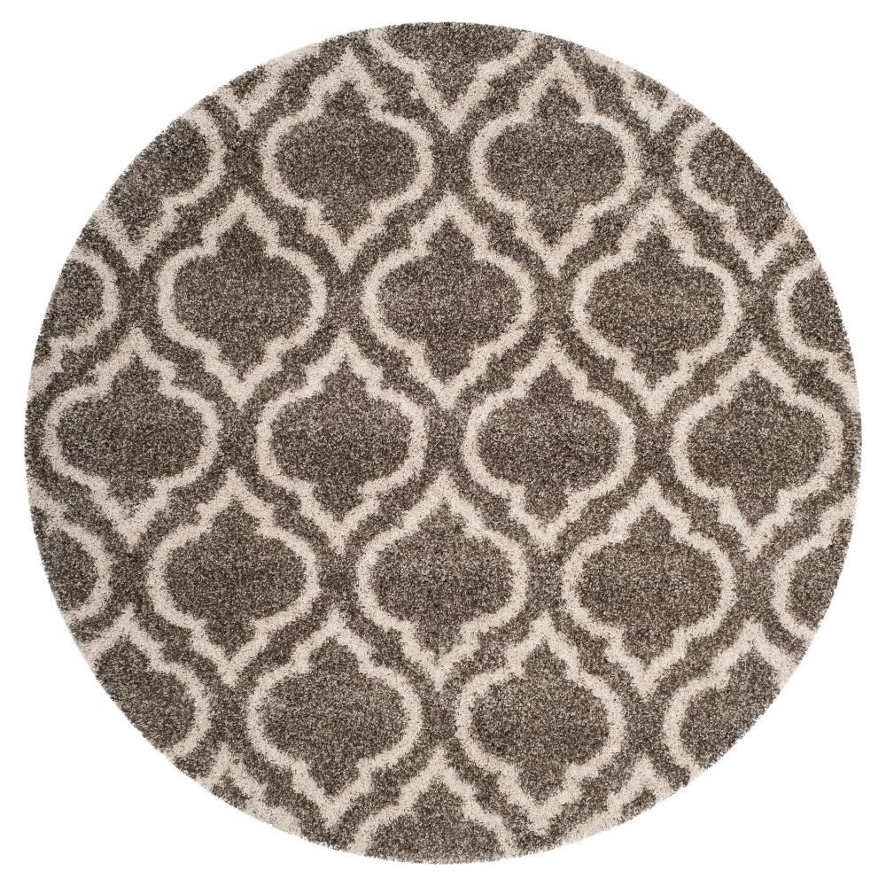Gray/Ivory Geometric Shag and Flokati Loomed Round Area Rug 7' - Safavieh