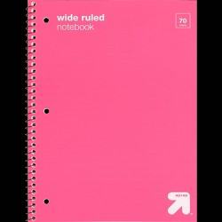 Wide Ruled 1 Subject Flexible Plastic Cover Spiral Notebook - Up&Up™
