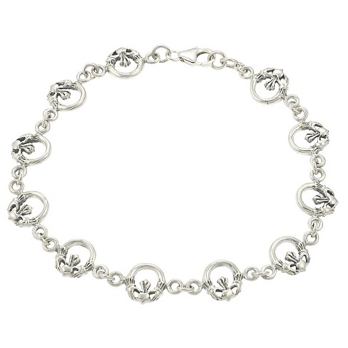 Women's Journee Collection Claddagh Link Bracelet in Sterling Silver - Silver - image 1 of 2