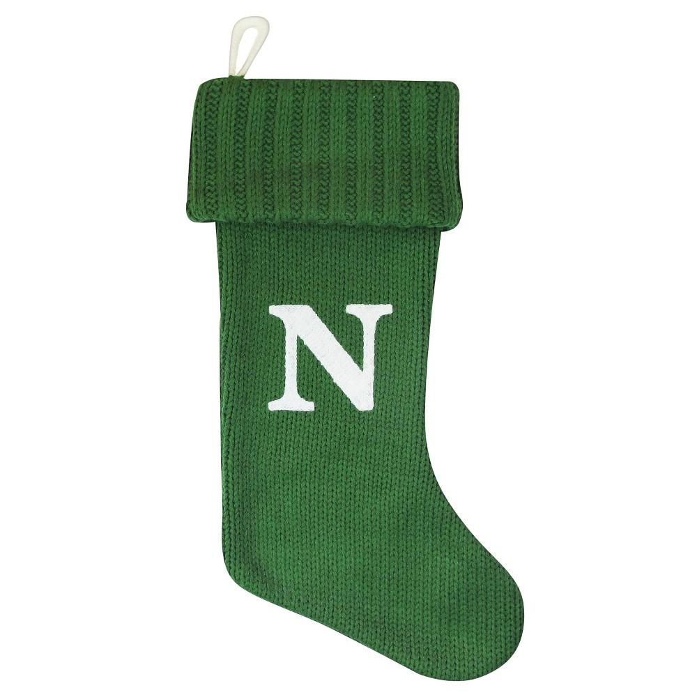 Knit Monogram Christmas Stocking Green N - Wondershop