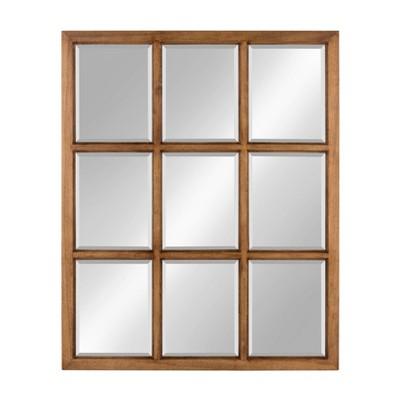 "26"" x 32"" Hogan Windowpane Framed Wall Mirror Natural - Kate and Laurel"