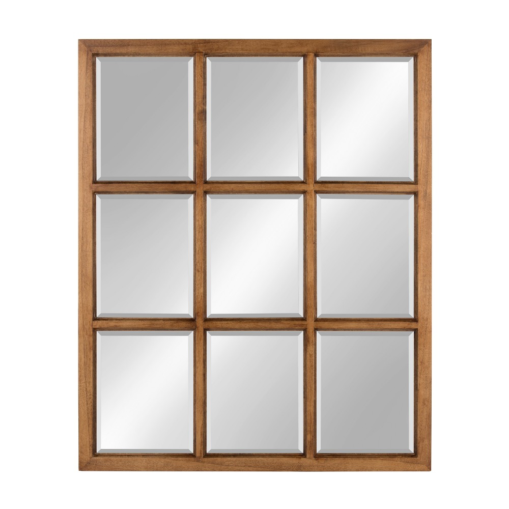 "Image of ""Kate & Laurel 26""""x32"""" Hogan 9 Windowpane Wood Decorative Wall Mirror Rustic Caramel"""