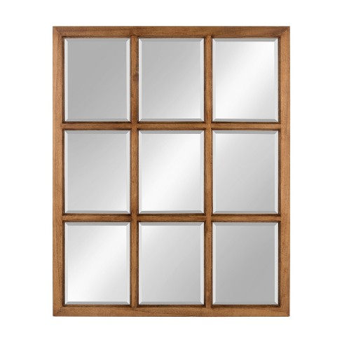 "Kate & Laurel 26""x32"" Hogan 9 Windowpane Wood Decorative Wall Mirror Rustic Caramel - image 1 of 4"