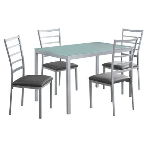 Dining Set - 5 Piece - Silver, Frosted Tempered Glass - EveryRoom - image 1 of 2