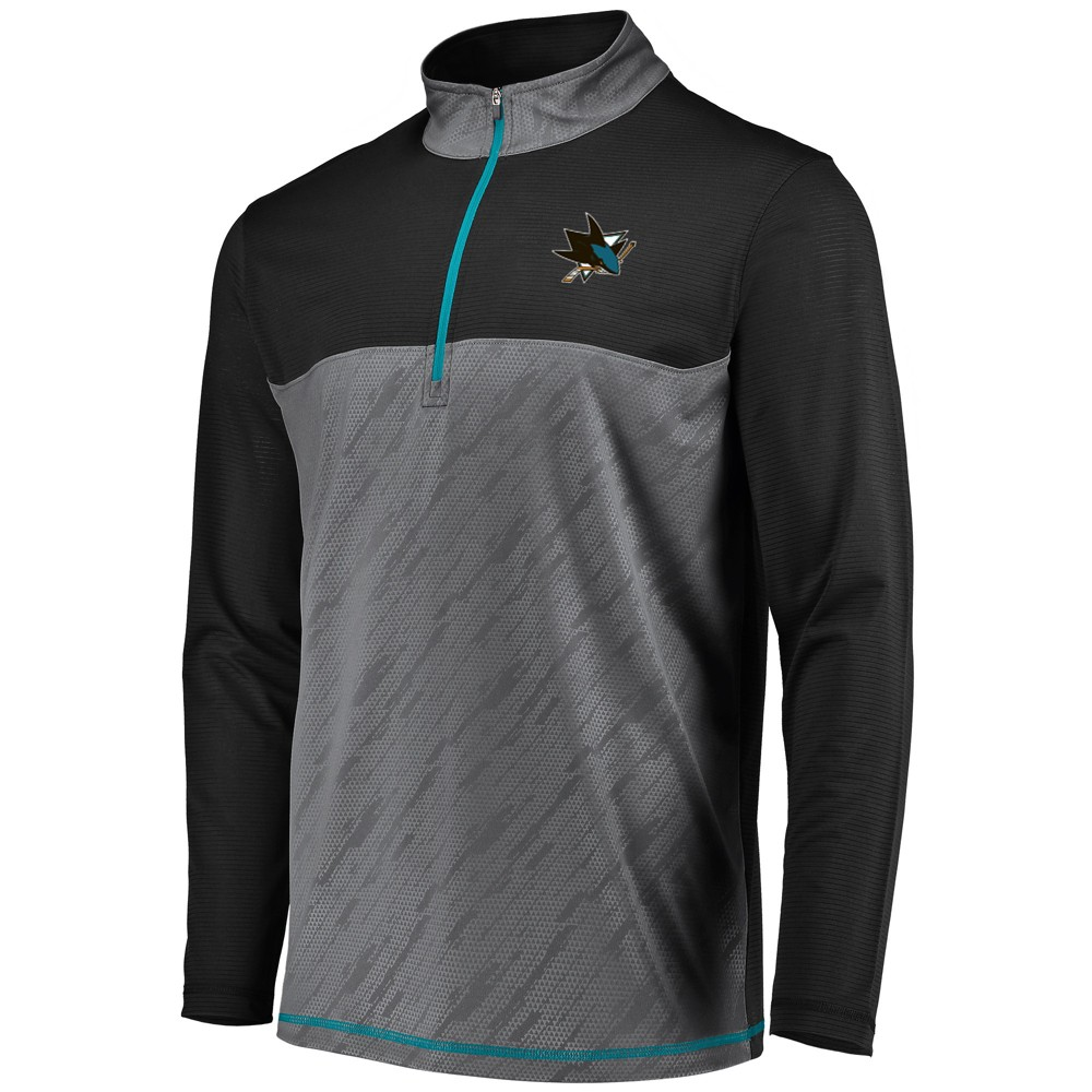 San Jose Sharks Men's Striped Geo Fuse Gray/ Black 1/4 Zip L