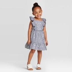 Toddler Girls' Short Sleeve Striped Woven Dress - Cat & Jack™ Navy