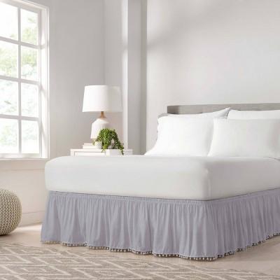 Wrap Around Pom Pom Bed Skirt - EasyFit™