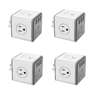Huntkey 4 x SMC007 Surge Protecting Multiport Electrical Outlet Extender/Adapter Cube with 4 AC Plugs and 3 USB Charger Ports, White/Grey (4 Pack)