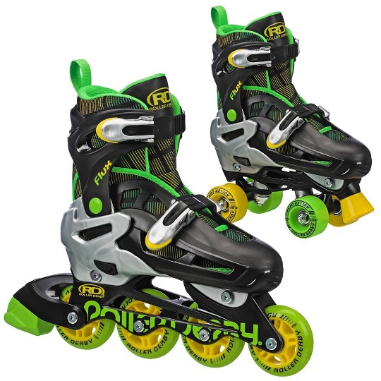 Roller Derby Flux Boys Inline/Roller Combo Skate - Black/Green/Yellow - Medium (3-6), Boy's, Yellow Green Black image number null