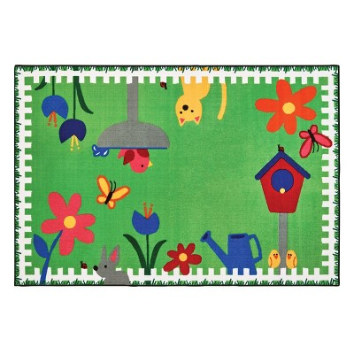 """3'6""""x4' Rectangle Woven Floral Area Rug Green - Carpets For Kids"""