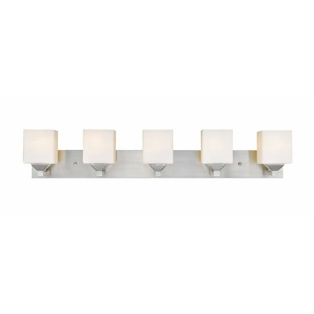 5 Light Steel Modern Bath Sconce With Glass Shade Brushed Nickel Aurora Lighting