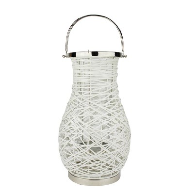 "Northlight 18.5"" Modern White Decorative Woven Iron Pillar Candle Lantern with Glass Hurricane"