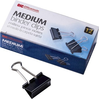 "Officemate Binder Clips Medium 1-1/4""Wide 5/8"" Cap 12/BX Black/Silver 99050"