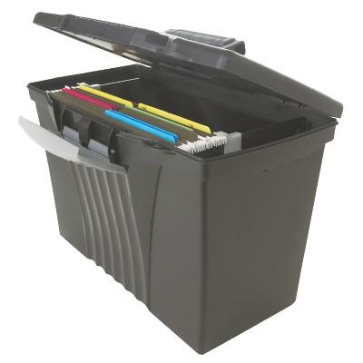Storex® Portable File Storage Box with Organizer Lid, Letter/Legal, Black