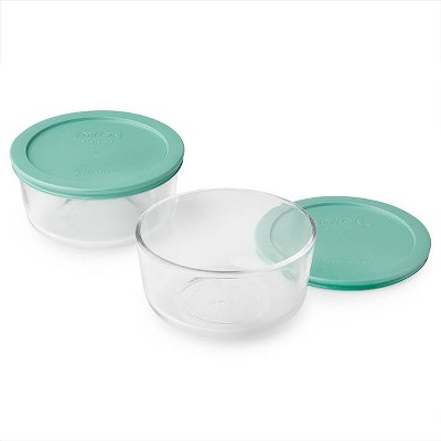 Pyrex 4cup 4pc Round Food Storage Containers Set Green