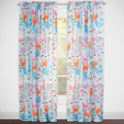 "50""x84"" Purrmaids Single Rod Rocket Curtain Panel Light Blue - Crayola"