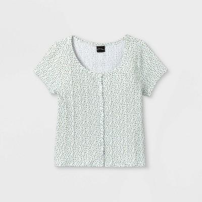 Girls' Ribbed Button-Front Short Sleeve T-Shirt - art class™