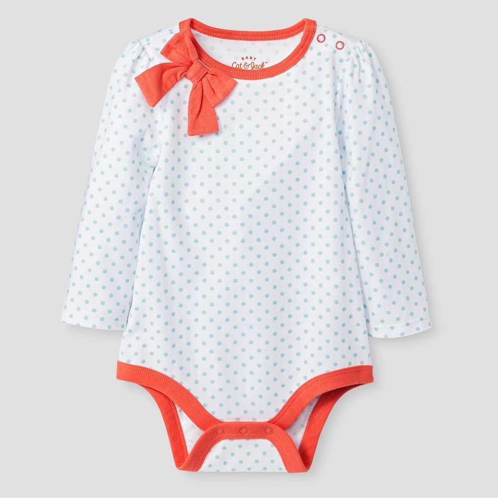 Baby Girls' Long Sleeve Polka Dot Bow Neck Bodysuit - Cat & Jack White 24M, True White Uv Calibrated