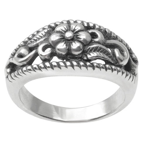 Women's Tressa Collection Flower Ring with Filigree in Sterling Silver - image 1 of 3