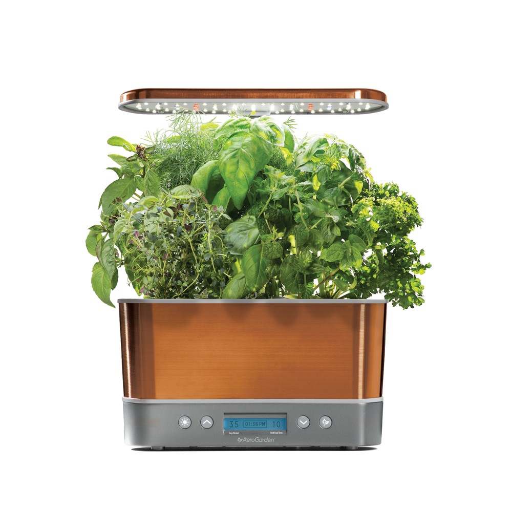 Image of AeroGarden Harvest Elite with Gourmet Herbs 6-Pod Seed Kit - Copper (Brown)