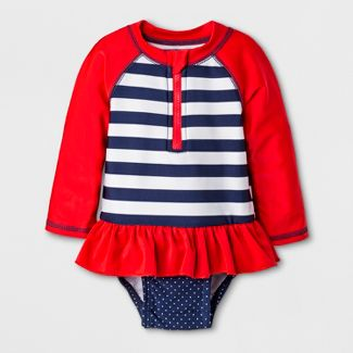 Baby Girls' Long Sleeve Stripe One Piece Swimsuit - Cat & Jack™ Red 3-6M