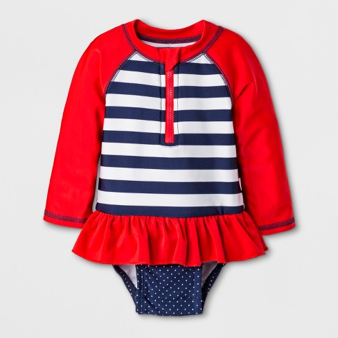 50d94b59a Baby Girls' Long Sleeve Stripe One Piece Swimsuit - Cat & Jack™ Red ...