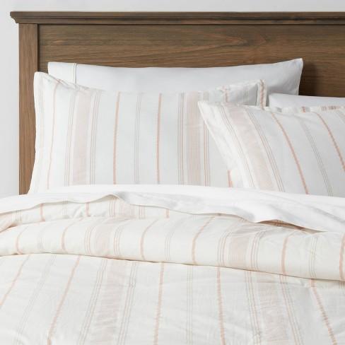 Warm Stripe Reversible Family-Friendly Comforter & Sham Set - Threshold™ - image 1 of 4