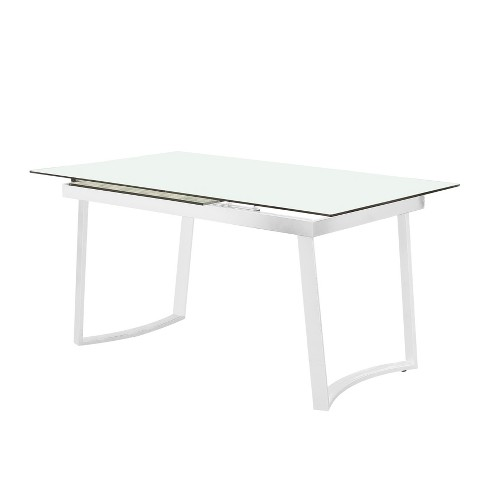 Iohomes Hollie Contemporary Tempered Gl Dining Table White Homes Inside Out