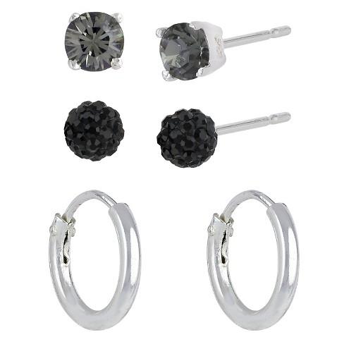 Women's Sterling Silver Set of 3 Fireball Stud Earrings and Endless Hoop Earrings - Silver/Clear/Black - image 1 of 1