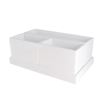 "11.25""X6.875""X4.25"" Modular Vanity Organizer With Magnetic Strip White - Threshold™"
