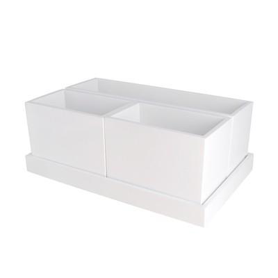 Modular Vanity Organizer With Magnetic Strip 11.25 X6.875 X4.25  White - Threshold™