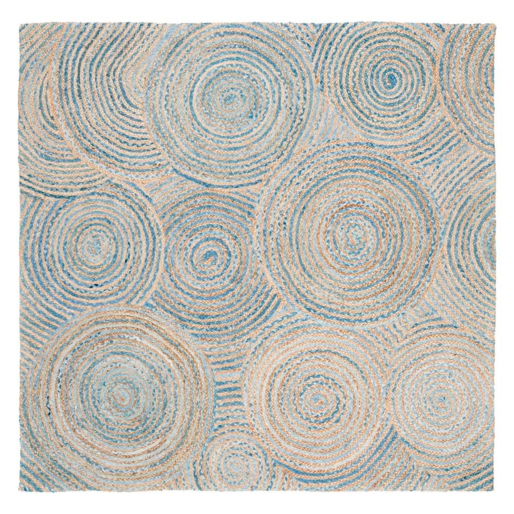 6'X6' Stripe Woven Square Area Rug Natural/Blue - Safavieh, White