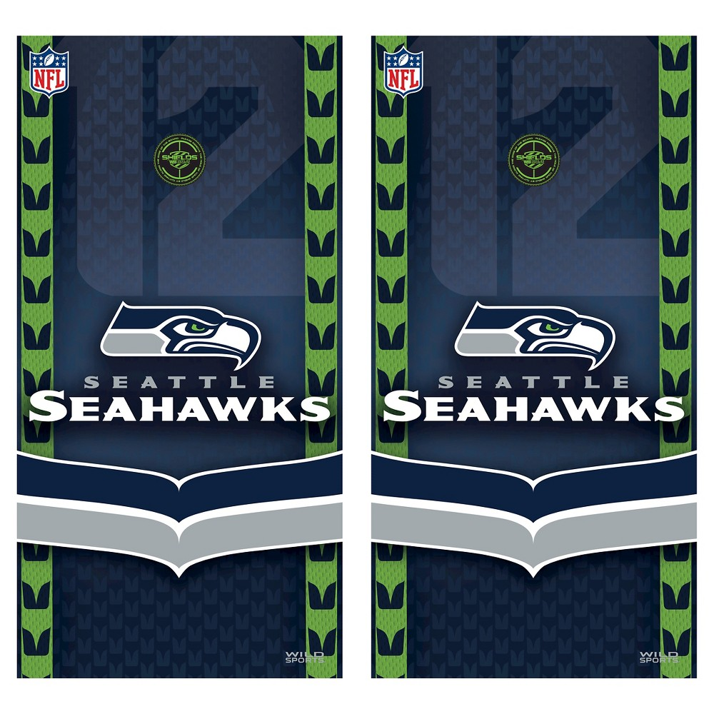 Seattle Seahawks Wild Sports Vinyl Cornhole Shield Wrap Set - 2 x 4 ft.
