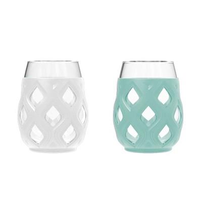 Ello Cru 2pk 17oz Wine Glass Gift Set Green/White